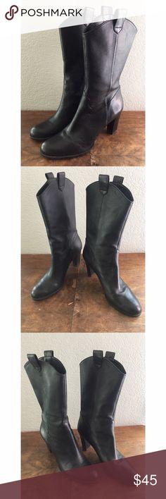 Gianni Bini Black Leather High Heel Boots Gianni Bini Black Leather High Heel Boots. Very good condition- only worn once. Gianni Bini Shoes Heeled Boots