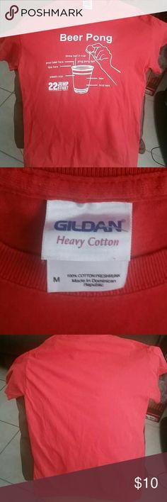 Beer Pong Tee Shirt Cherry red tee shirt, white graphic, 22 Jump Street, no tags but never worn. Gildan Shirts Tees - Short Sleeve