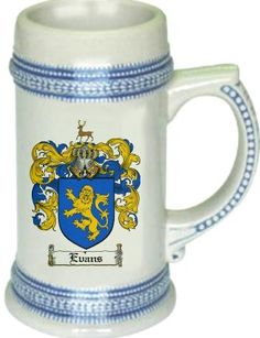Evans Coat of Arms / Family Crest stein mug |  $21.99 at www.4crests.com - This stein starts with the family coat of arms hand drawn digitally. We then use a high quality 22 oz. ceramic stein to apply the coat of arms to via sublimation.