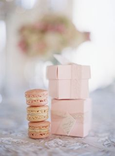 Just what Kim is looking for... pink macaron wedding favors