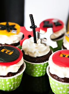 Awesome Lego Ninjago Inspired Birthday Party- cupcakes