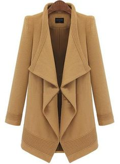 New Winter Women Woolen Outwear Fur Collar Coat Long Jacket Lapel Coat Long Brown Coat, Brown Wool Coat, Khaki Coat, Long Wool Coat, Tweed Coat, Camel Coat, Wool Coats, Winter Trench Coat, Feminine Fashion
