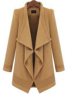 Camel Lapel Long Sleeve Belt Woolen Coat 45.50
