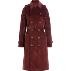 A.P.C. Corduroy Trench Coat (€430) ❤ liked on Polyvore featuring outerwear, coats, red, corduroy coat, red trench coat, red coat, slim coat and slim fit trench coat