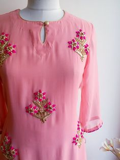 Pink Handwork Kurta and Skirt