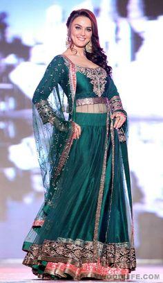 Preity Zinta walks for support the girl child initiative in a Manish Malhotra lehenga