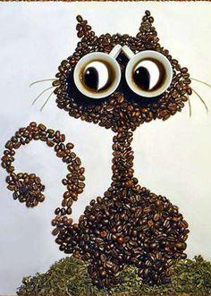Un gato curioso hecho con granos de café. Muy original!