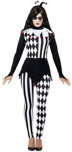 erdbeerloft - Damen Female Jester Hofnarr Komplett Kostüm Karneval , Schwarz, Größe L/XL: Amazon.de: Spielzeug