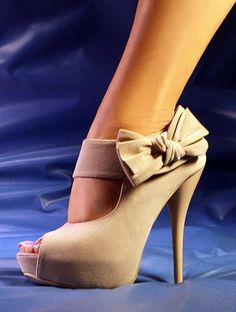 Ollio Open Toe Ribbon Accent Pumps .  Click to Purchase: http://amzn.to/YsTgIw
