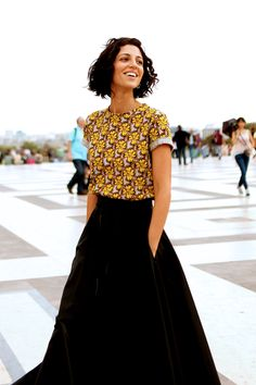We The People [ Classic black elegant skirt and patterned top. Cool classic womens style