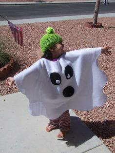 Easy fleece Halloween costume idea. Endless possibilities. Poncho costume.