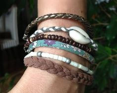 Bracelet multirangs chocolat / turquoise  : Bracelet par bleu-boheme sur ALittleMarket