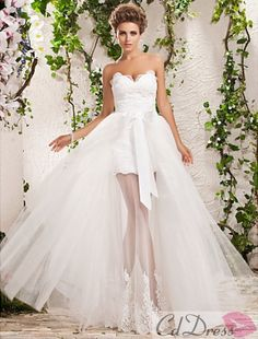 Charming Two-In-One A-line Princess Sweetheart Floor-length Tulle Wedding Dress