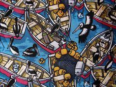 Boats and Pelicans fabric by Raul Villanueva www.spoonflower.com/fabric/519805