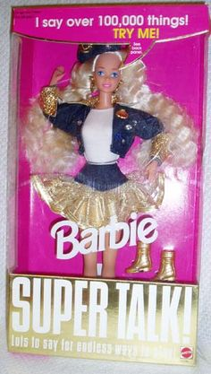 """Super Talk Barbie - """"Wow! It would be fun to go to the mall, with Ken! After school."""""""