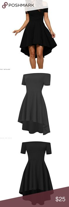 Sexy High Low Skater dress, Small NWT Women's sext straight collar off shoulder short sleeve high/low skater dress, Small NWT.  Material is 95% polyester and 5% spandex.  Size small, bust is 33.86, waist 27.56 and hips 36.22.  All my stuff comes from a smoke/pet free home.  Bundle for an additional discount and save on shipping. 312 Boutique Dresses High Low