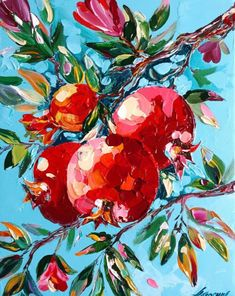 Small Canvas Art, Fruit Painting, Guache, Beautiful Paintings, Oeuvre D'art, Painting & Drawing, Flower Art, Watercolor Art, Art Projects