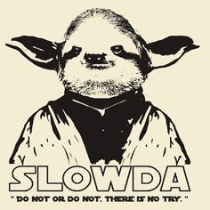 Slowda Do not or do not, there is no try. Haha, what a great shirt! http://www.redbubble.com/people/wanungara/works/9811633-slowda-do-not-or-do-not-there-is-no-try?c=208428-sloths
