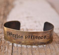 practice patience Distressed brass handstamped by MYPEACEofJEWELRY, $18.50
