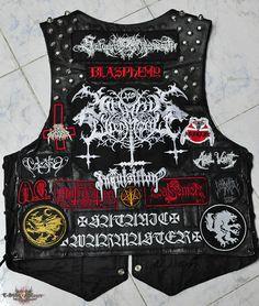 vest from Black_magic Jean Vest, Vest Jacket, Jaket Jeans, Battle Jacket, Biker Leather, Metal Girl, Death Metal, Punk Fashion, Metallica