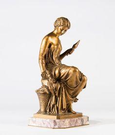 Mathurin MOREAU (1822-1912) La fileuse. Bronze socle en marbre rose griotte. Fonte d'édition ancienne à patine doré, H: 35 cm - Artcurial Lyon - 26/10/2015