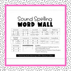 This sound spelling word wall set has everything you need to help your students use their spelling lessons in their daily writing. This set also includes an individual chart to help you with organization and progress monitoring.This set includes cards for:* consonant sounds* consonant digraphs* sho... Consonant Digraphs, Progress Monitoring, Gillingham, Spelling Words, Writing Activities, Teaching Tools, Students, Language, Science