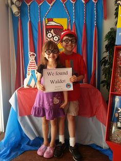 Waldo hunters in the picture taking spot.  Find Waldo Local 2013 at The Book Nook in Brenham, TX.  #findwaldolocal