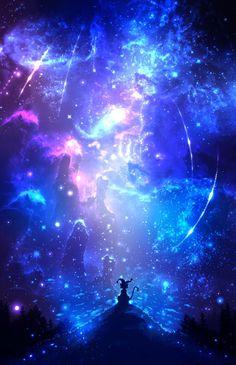 images for anime art Sky Anime, Anime Stars, Blue Anime, Anime Galaxy, Galaxy Art, Yuumei Art, Fantasy Kunst, Anime Kunst, Anime Scenery