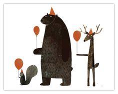 happy birthday bear illustration by Jon Klassen Art And Illustration, Illustrations Posters, Project Life Karten, Flowers Wallpaper, Poster Photo, Jon Klassen, Art Watercolor, Inspiration Art, Animal Party
