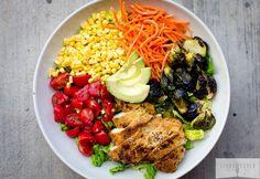 Rainbow Salad with Balsamic Roasted Brussels.....mmmmm this sounds gooooooood