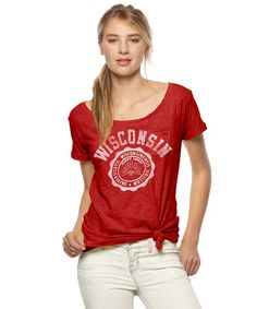 Take your tailgate fashion to the next level with our University of Wisconsin Badgers Women's Scoop Neck T-Shirt. ON SALE NOW. #Wisconsin #Badgers