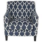 Porter International Designs Cassie and Arabesque Armchair Upholstery: Navy Blue and White Blue Accent Chairs, Upholstered Accent Chairs, Accent Chairs For Living Room, Arabesque, Comfortable Accent Chairs, Moroccan Pattern, Chair Types, Velvet Cushions, Dining Chair Set