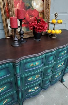 Mermaid Blues How-To | Brushed By Brandy Chalk Paint Furniture, Funky Furniture, Refurbished Furniture, Repurposed Furniture, Vintage Furniture, Chalk Paint Dresser, Painted Dressers, Furniture Market, Furniture Design