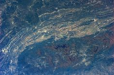 Tennessee and North Carolina. Knoxville is just left of center with the Great Smoky Mountains below.  Taken October 20, 2013.  KN from space.