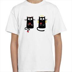 Camiseta infantil con el dibujo de dos gatos uno es un ángel y el otro un demonio. Camisetas niños con un original dibujo de un gato bueno y un gato malo.