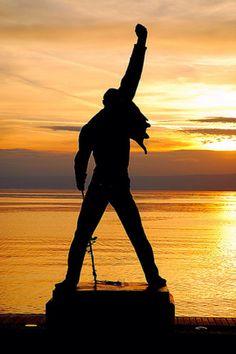 Montreux, Switzerland. Freddie Mercury memorial and tribute statue overlooking Lake Geneva. Stunning photo