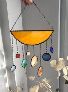 Chakras Suncatcher Stained Glass Suncatcher Strand Circles Bohemian Decor Whimsical Accent
