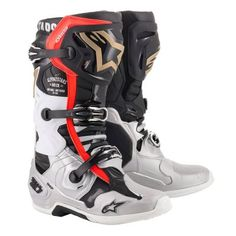 To celebrate the Monster Energy Cup Las Vegas, Nevada, Alpinestars has created a Limited Edition 'Battle Born' Tech 10 boot and gear set. Featuring a distinctive black, silver and gold color scheme which is inspired by the iconic liveries used b Dirt Bike Gear, Motocross Gear, Dirt Bikes, Mx Boots, Snow Boots, Trail Shoes, Riding Gear, White Boots, Racing Team