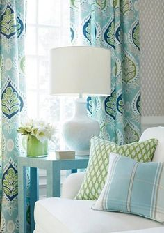 BLUE Green curtains blue ikat curtains THIBAUT curtains curtain panels light blue and white drapes lotus curtains flower l - Arredamento estivo House Of Turquoise, Living Room Turquoise, Blue And Green Living Room, Turquoise Kitchen, Coastal Bedrooms, Coastal Living Rooms, Living Room Decor, Blue And Green Curtains, Light Blue Curtains