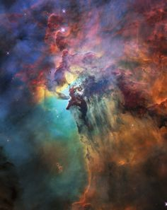 Lagoon Nebula. The whole nebula, about 4000 light-years away, is an incredible 55 light-years wide and 20 light-years tall. This image shows only a small part of this turbulent star-formation region, about four light-years across. The observations were taken by Hubble in February 2018. Credit: NASA, ESA, STScI.