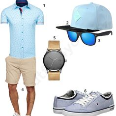 Hellblau-Beiges Outfit für den Sommer (m0431) #outfit #style #fashion #menswear #mensfashion #inspiration #shirt #cloth #clothing #männermode #herrenmode #shirt #mode #styling #sneaker #menstyle