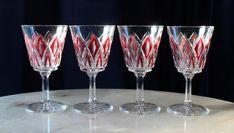 FABULOUS Set Of Four Wine Glasses With DIAMOND Pattern #POSSIBLYCRISTALDARQUEORBOHEMIA