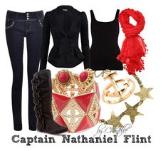 """""""Captain Nathaniel Flint"""" by disneybychantelle ❤ liked on Polyvore featuring People Tree, River Island, Walnut Melbourne, GUESS by Marciano, Fergalicious, J.Crew and Stella & Dot"""
