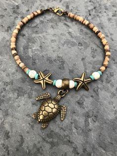 Anklet Jewelry, Beach Jewelry, Body Jewelry, Ankle Bracelets, Beaded Bracelets, Turtle Jewelry, Beach Anklets, Tattoo Bracelet, Bracelet Making
