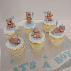 It's a Boy! #itsaboy #babyshower #blue #cupcakes #teddybears #balloons #cake #dlish Blue Cupcakes, Babyshower, Balloons, Teddy Bear, Boys, Desserts, Instagram, Baby Shower, Baby Sprinkle