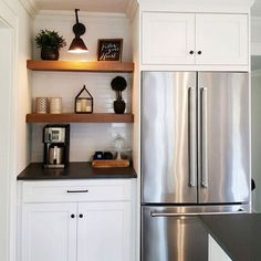 We're loving this cozy coffee corner featuring a Canarm swing arm light. Click through for credit. Small Kitchen Inspiration, Farmhouse Kitchen Inspiration, Home Decor Inspiration, Coffee Corner, Cozy Corner, Coffee Cozy, Modern Farmhouse, Farmhouse Decor, Kitchen Cabinets