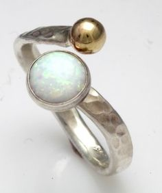 sterling silver and gold adjustable ring set with white opal,Handmade in the UK by Lavan Jewellery Adjustable Ring, White Opal, Gemstone Rings, Silver Rings, Jewellery, Sterling Silver, Gold, Design, Jewels