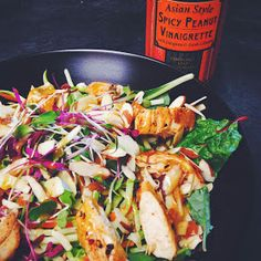 The Skinnie Foodie: Spicy Thai chicken salad with trader joes peanut dressing