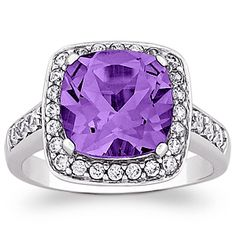 Buy Sterling Silver Large Cushion-cut Genuine Amethyst and CZ Surround Ring at Limoges