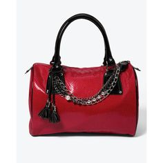 Womens Snake-Embossed Satchel with Jewelry Swag by White House Black... ($50) ❤ liked on Polyvore featuring bags, handbags, bags wallets and luggage, satchels, red patent leather handbags, hand bags, chain handle purses, patent leather purse and satchel handbags